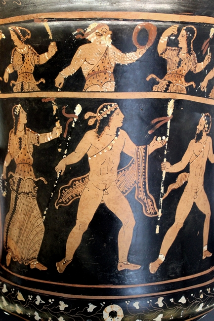 Scena dionisiaca sul lato opposto del vaso, IV sec. a.C.