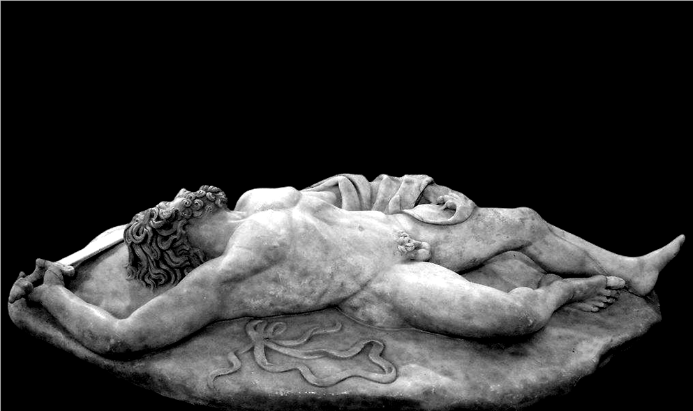 """Guerriero caduto, dal gruppo ''Piccolo donario"""", Museo Archeologico Nazionale, Napoli"""