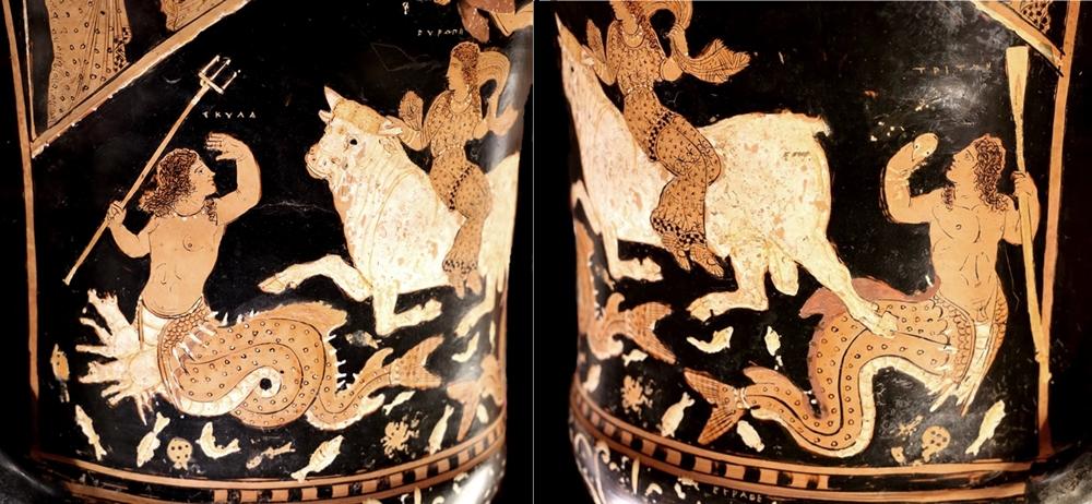 Doppio part. del vaso di Assteas con le creature marine Scilla (a sin.) e Tritone