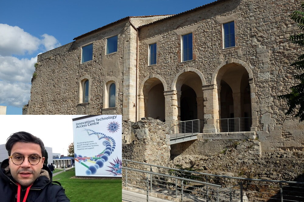 Scorcio del Castello Svevo di Cosenza - Ph. Alexander Van Loon. Nel riquadro il ricercatore Carmelo Scuro