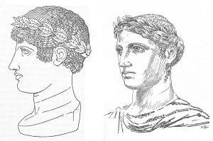 Volti dell'Apollo Aleo ricostruiti nelle pubblicazioni di P. Orsi (a sn.) e Elio Malena (a ds.)
