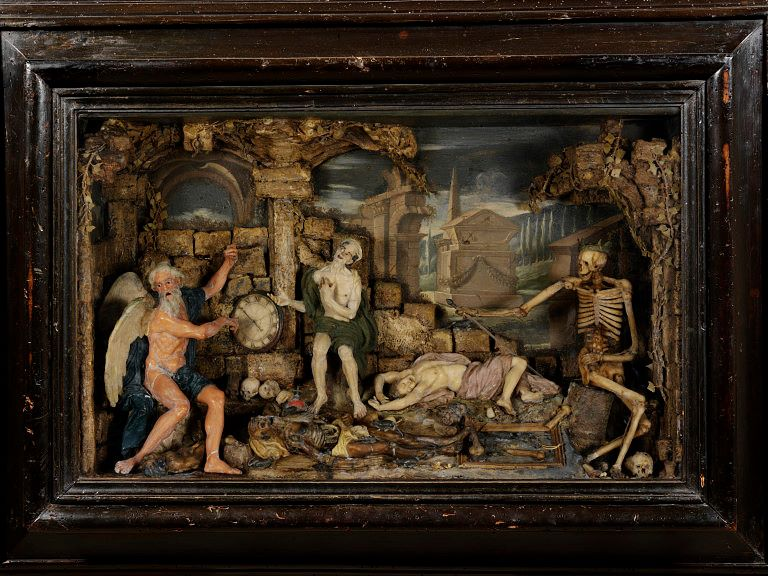 """Il Tempo e la Morte"", tableau in cera di Caterina de Julianis (XVIII sec.), Victoria and Albert Museum, Londra"