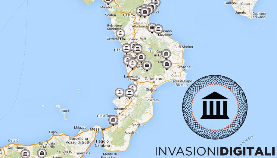 La mappa delle Invasioni Digitali programmate in Calabria dal 23 aprile al 3 maggio