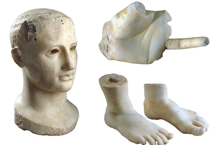 Calabria - Testa e altri frammenti dell'Apollo Alèo, acrolito di Krimisa - Ph. Soprintendenza Archeologia della Calabria