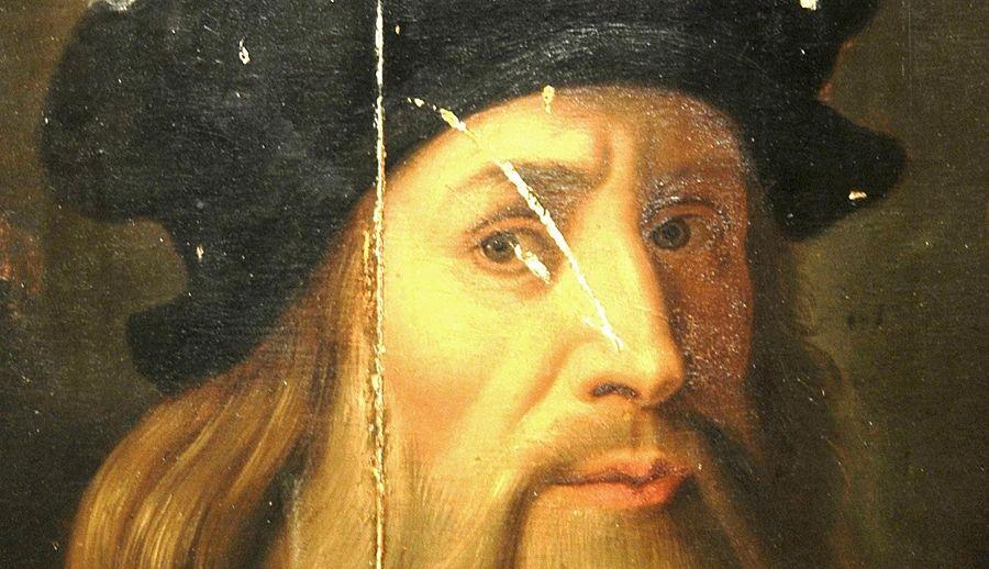 """Part. dell' """"Autoritratto di Acerenza"""" presunta opera di Leonardo da Vinci, ritrovata nel 2008 a Salerno ma proveniente dalla Basilicata, XV sec. - Museo delle Antiche Genti di Lucania, Vaglio di Basilicata (Potenza) – Ph. © Ferruccio Cornicello"""