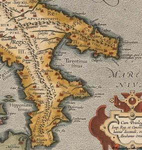 Ortelius_ITALIAE VETERIS SPECIMEN_1595__ITALIA_puglia_calabria_sud_italia