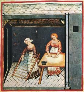Lavorazione ed essicazione della pasta, da Taccuino Sanitatis Casanatense, XIV sec,