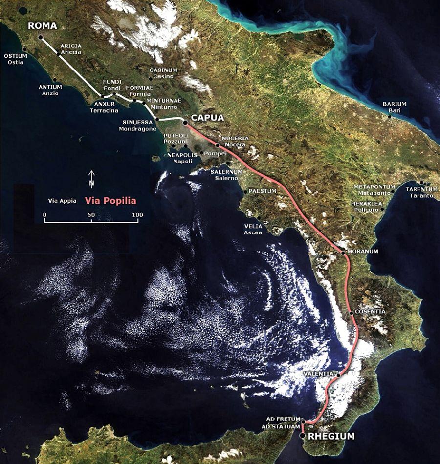 La Via Popilia, che andava da Reggio a Capua, permetteva i collegamenti tra Roma e Reggio con il suo importante porto - Ph. Public domain