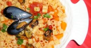 Zuppa di cozze con tubetti