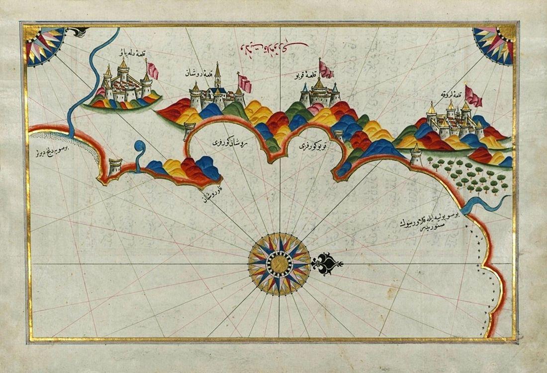 Piri Reis - Mappa della costa orientale della Calabria nei dintorni di Rossano