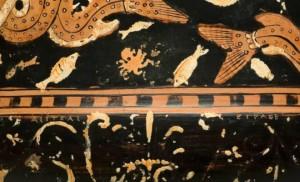 Particolare del cratere di Assteas con pesci, IV sec. a.C., Museo Archeologico Nazionale, Paestum