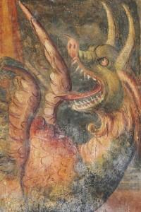 S. Marina martire di Antiochia vince il demonio in forma di drago (part.) - Giovanni Todisco da Abriola, XVI sec., Cripta della Cattedrale di Acerenza (Pz) – Ph. © Ferruccio Cornicello
