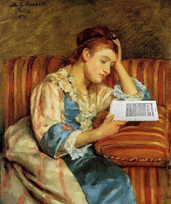 Mrs. Duffee Seated on a Striped Sofa, Reading Her Kindle, After Mary Cassatt - Ph- Mike Licht   CCBY2.0