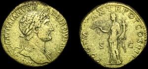 Sesterzio in oricalco raffigurante l'imperatore Adriano
