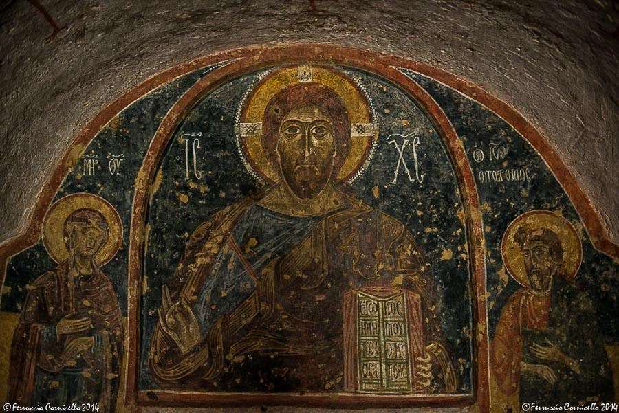 Puglia - Affresco della Deesis, XII sec., chiesa rupestre di S. Nicola, Mottola – Ph. © Ferruccio Cornicello