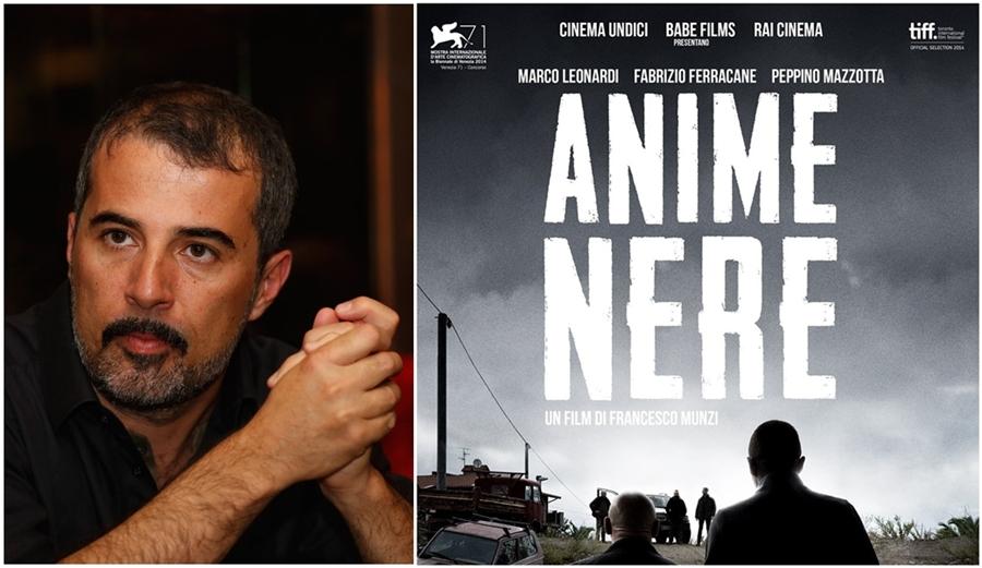 Da sin. il regista romano Francesco Munzi e la locandina del suo film Anime Nere