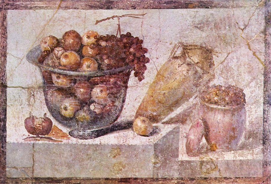 Campania - Natura morta con fruttiera di vetro e vasi, Casa di Julia Felix, Pompei