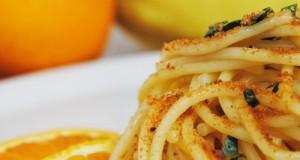 Spaghetti con la bottarga di tonno profumati agli agrumi