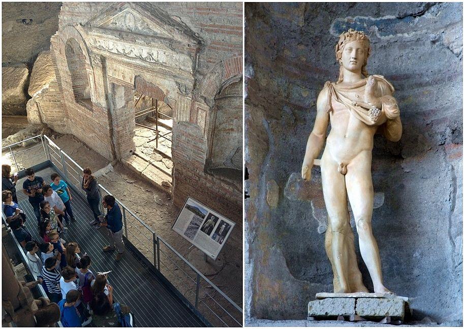 Campania - I resti della villa romana di Somma Vesuviana (Napoli), detta Villa di Augusto. A destra la statua marmorea raffigurante Dioniso ritrovata durante gli scavi
